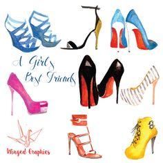High heels/ hight fashion  watercolour digital Clipart: hand drawn elegant high heel shoes, pumps, loubutins, sandals