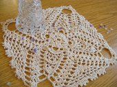 7 1/2 Inch Square High Texture Crochet Doily in Beige, No. 55  #thecraftstar