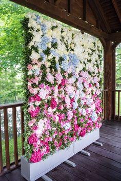 Flower Wall Backdrop Whimsical Boho Glamour Pink Blue Gold Wedding / http://www.himisspuff.com/wedding-backdrop-ideas/3/