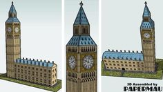 Easy-To-Build Big Ben Clock Tower Paper Model - by Papertoys.Com