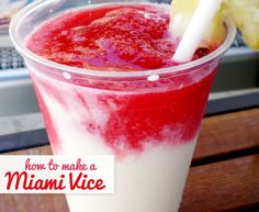 How to make a Miami Vice: Thirsty Thursday!    5 oz of Bacardi® 151 rum or any other rum you prefer   1 package of frozen pina colada mix   1 package of frozen strawberry daiquiri mix   Ice & a blender