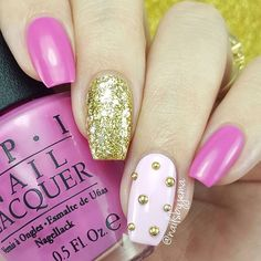 nailsbyjema: I used my two favorite OPI pinks of all time ('Shorts Story' & 'Mod About You') and paired them with @lagirlcosmetics 'Glitzy' and some gold studs to finish the look. My nails need another trim already! They're growing like crazy at the moment! Studs are from @bornprettystore