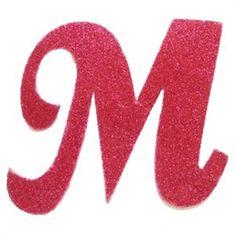 Letra Cursiva em Gliter - M - Pink                                                                                                                                                                                 Mais