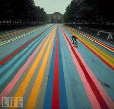 Walking on a Rainbow. By artist Gene Davis.