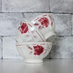 Large Cafe Au Lait Bowl With Dark Rose Decoration French Kitchen Vintage