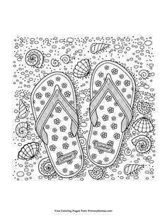 Coloring book for adult. Slippers, sand and shell. royalty-free coloring book for adult sea beach slippers sand and shell stock vector art & more images of adult Beach Coloring Pages, Coloring Book Pages, Printable Coloring Pages, Coloring Sheets, Free Coloring, White Image, Stock Foto, Summer Colors, Doodle Art