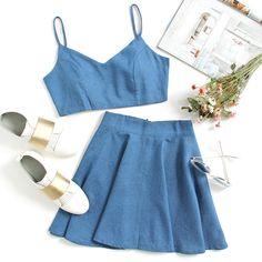 Crop Chambray Cami Top And Skirt Set