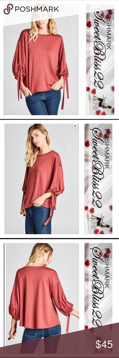 💎Marsala French Terry Top💎 Must have top. Gorgeous color and super stylish and comfy. 87% Polyester 9% Rayon 4% Spandex Tops