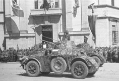 """A Autoblinda AB 41 on parade through the streets of Tirana (Albania). This vehicle is attached to Reggimento """"Nizza Cavalleria"""". Army Vehicles, Armored Vehicles, Armored Car, Tirana Albania, Truck Transport, Italian Army, Armored Fighting Vehicle, Ww2 Tanks, War Machine"""