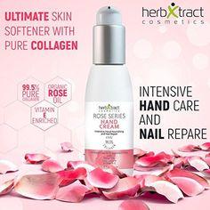 Amazon.com : Hand Cream with Rose Oil - Collagen and Vitamin E - 3.4 fl.oz. : Beauty