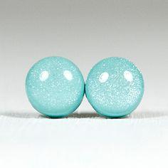Tiffany Blue Shimmer Stud Earrings