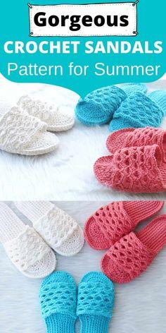 Crochet Sandals Free Pattern - Crochet Dreamz Crochet Sandals Free, Crochet Slippers, Knit Crochet, Book Crafts, Craft Books, Yarn Tail, Yarn Needle, Slip Stitch, Crochet Projects