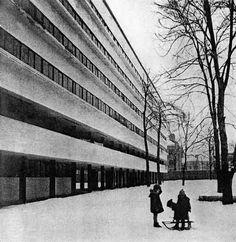 Maison commune du Commissariat du peuple des finances, Guinzburg 1928 (constructivisme soviétique)
