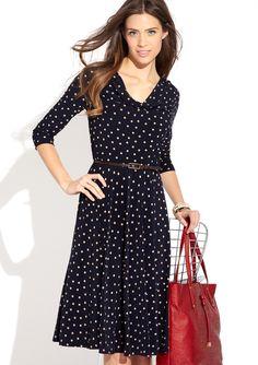 Polka dot, knee-length dress