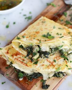 ~ Spinach Artichoke & Brie Crepes with Sweet Honey Sauce! {Use your gluten free crepes recipe to sub. I Love Food, Good Food, Yummy Food, Tasty, Vegetarian Recipes, Cooking Recipes, Healthy Recipes, Drink Recipes, Honey Recipes