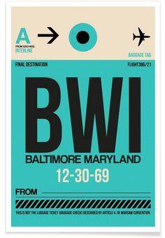 BWI - Baltimore - Naxart - Premium Poster
