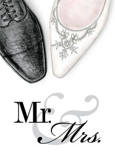 mr & mrs wedding shoes – Ann Scott, Inc. Wedding Shower Cards, Wedding Cards, Fall Nail Trends, Wedding Drawing, Mode Poster, Fashion Illustration Dresses, Wedding Illustration, Cute Couple Art, Valentines Art