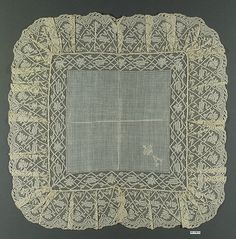 Handkerchief.French,Linen Bobbin lace.1889-1890