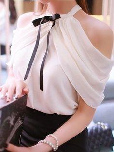 White Women Shirt Tops Sexy Off Shoulder Slash Neck Slim Wrap See Through Chiffon Blouse Chemise Femme Diy Fashion, Ideias Fashion, Fashion Outfits, Womens Fashion, Fashion Design, Sweet Fashion, Fashion Site, Style Fashion, Urban Fashion