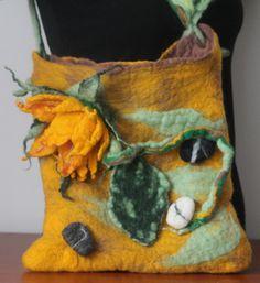 felted handbag  /sunflower and stones / flower handbag / Felted handbag /felted sunflower