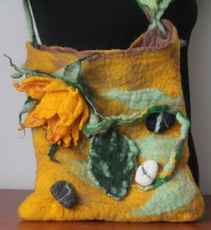 felted handbag  /sunflower and stones / by RozalkaFeltAndWool