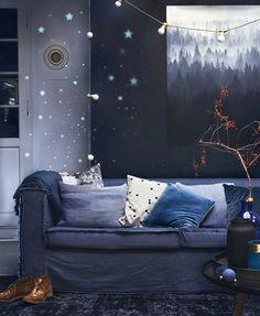 Diepblauwe woonkamer | Deep blue living room | Styling Anke Helmich | Fotografie Dana van Leeuwen | vtwonen feestspecial december 2015