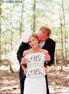 Mr & Mrs. Wooden Signs by familyattic on etsy. Photo by the inimitable and amazing Elizabeth Messina Photography!