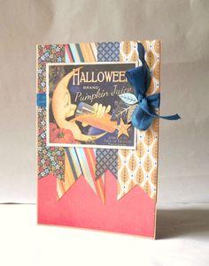 Halloween Handmade Card   Vintage Pumpking Juice by 2MagpiesForJoy, $7.50