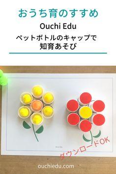 ペットボトルのキャップでおうち遊び 2歳からの知育におススメ   ouchiedu Preschool Crafts, Preschooler Crafts