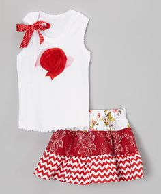 Another great find on #zulily! Red Roses Tank & Skirt - Infant, Toddler & Girls #zulilyfinds