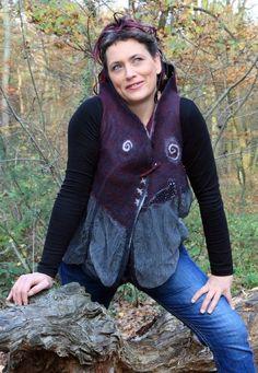 Gallery.ru / Фото #76 - ARIANE SROKA - renew Black Felt, Bomber Jacket, Vest, Gallery, Jackets, Clothes, Felting, Fashion, Felt