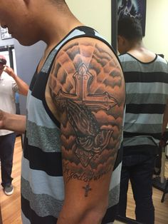 Religious tattoos done by me gennaro estrada религиозные тат Half Sleeve Tattoos Forearm, Cloud Tattoo Sleeve, Half Sleeve Tattoos For Guys, Forarm Tattoos, Small Forearm Tattoos, Forearm Tattoo Men, Tattoo Sleeve Designs, Tattoo Designs Men, Religious Tattoos For Men