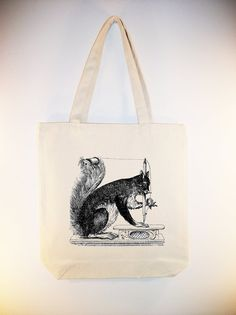 Vintage Sewing Squirrel Illustration on 15x15 Canvas Tote by Whimsybags, $12.00
