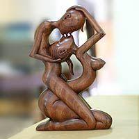 Wood statuette, 'Upside-down Kissing'