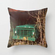 Decorative Pillow Cover Ford Truck Aqua Green Brown Barn Rustic Vintage Masculine Farmhouse Man Boy Custom Photo Case Home Bedroom Decor
