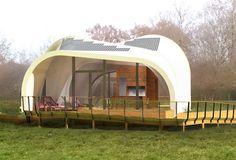 La Techstyle Haus. Une maison passive réalisée en tissu solaire et conçue conjointement par l'université de Brown, la Rhode Island School of Design aux Etats-Unis et l'université de sciences appliquées d'Erfurt en Allemagne.