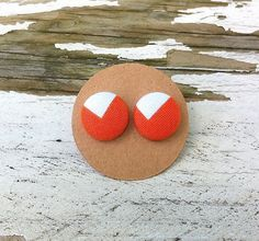 Fabric Button Post Earrings  Orange and by CelebrateCreativity
