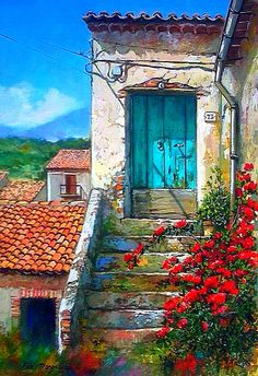 by Francesco Mangialardi Watercolor Landscape, Watercolor Paintings, Watercolour, Rooftop Garden, Old Doors, Painting Inspiration, Painting & Drawing, Art Gallery, Canvas Art