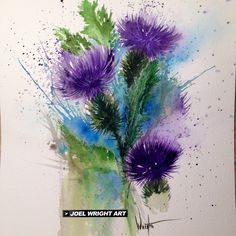 Watercolor Flower Tattoos Joel - watercolor-thistle