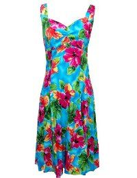 96d4bf15ae7 Two Palms Womens Hibiscus Watercolor Empire Princess Flare Sundress Blue M
