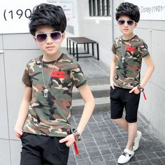 Boy set children's shirts + shorts pieces 2017 summer new casual wear suit boys clothing sets 5 6 7 8 9 10 years old pullovers #Affiliate