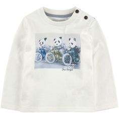 Cotton jersey  Crew neck Ribbed knit collar Long sleeves Buttons on the shoulder Fancy print on the front - 25,00 €