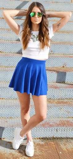 Bershka Blue High Rise Pleated Mini Skirt