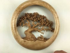 Oak Tree Wood carving wall hanging wood by TreeWizWoodCarvings