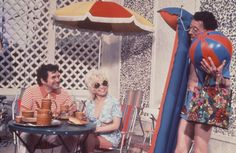 Jimmy Logan, Barbara Windsor and Charles Hawtrey in Carry on Abroad. 1972