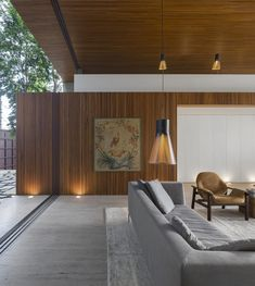 Architecture, Modern Wood Paneling Open Living Room With Grey Mid Century Sofa ~ Extraordinary Tetris House At Modern Brazilian Home Interior Wood Paneling, Mid-century Interior, Modern Interior, Home Interior Design, Classic Interior, Exterior Design, Contemporary Architecture, Interior Architecture, Futuristic Architecture
