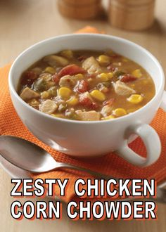 Zesty Chicken Corn Chowder Chicken, corn, and zesty tomatoes combined with cream of chicken soup for a quick hearty corn chowder. Chowder Soup, Chowder Recipes, Soup Recipes, Cooking Recipes, Healthy Recipes, Chili Recipes, What's Cooking, Fall Recipes, Recipies
