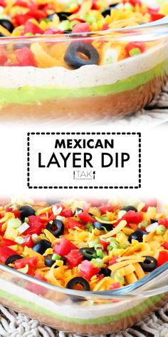 This easy Seven Layer Dip is the perfect party appetizer for a crowd! Mexican Layer Dip with refried beans, guacamole, and sour cream with taco seasoning features layer after layer of tasty toppings! It's everyone's favorite party dip!!!