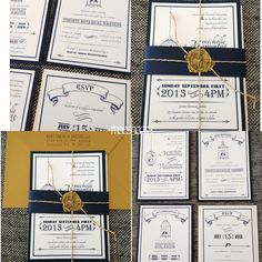 navy blue gold wedding invitations - Google Търсене