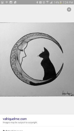 Cat moon tattoo